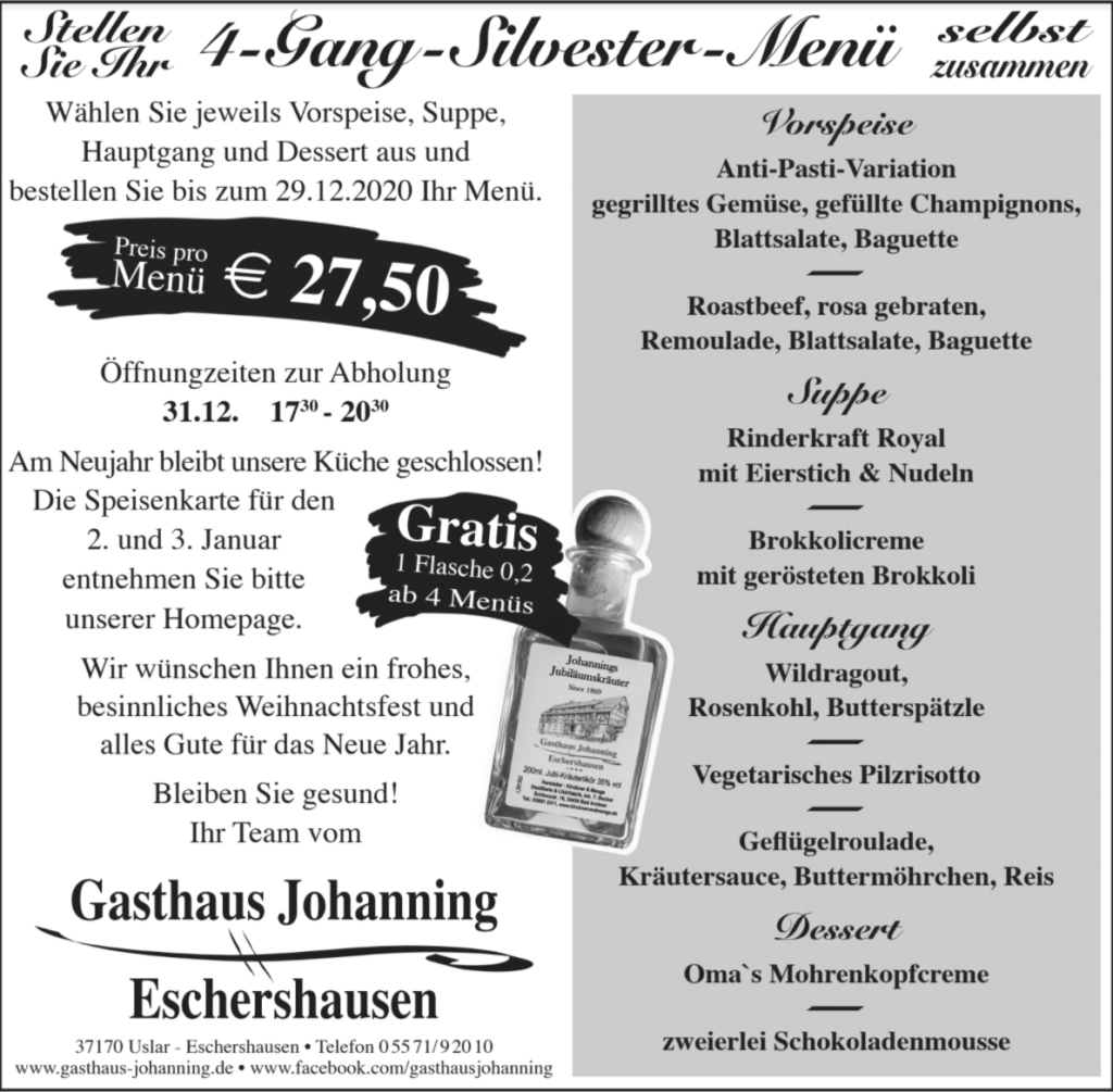 Silvester Menü 2021 in Uslar, Dassel, Bodenfelde